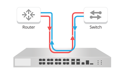 Figure 1: In-line Security Device with Active Network Traffic