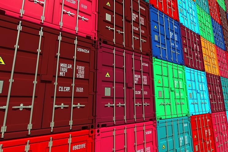 Stacked Colorful Cargo Containers.  Industrial and Transportation Background..jpg